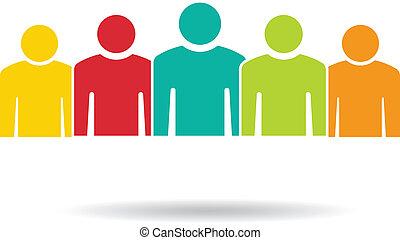 gruppe, folk, 5., hold, logo, mager
