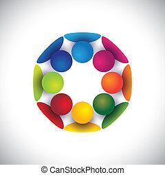 gruppe, folk, børn, samfund, eller, vektor, cirkel, spille