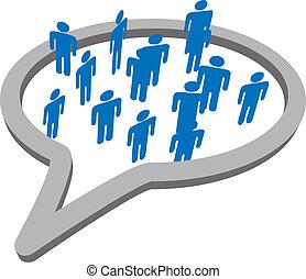 gruppe, folk, medier, tale, sociale, boble, samtalen