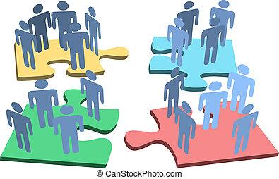 gruppe, folk, opgave, løsning, stykker, menneske, organisation