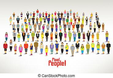 gruppe, folk, samles, store, vektor, konstruktion