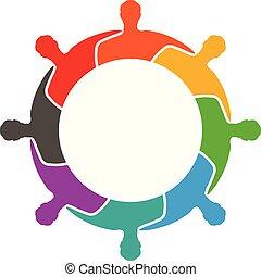 gruppe, folk, sammen, anden, hugging, hver