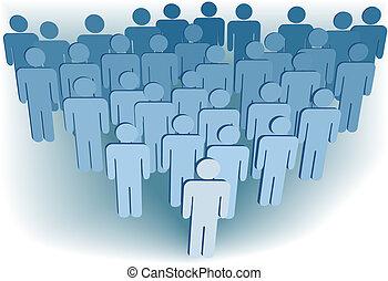 gruppe, folk, selskab, eller, congregation, befolkning, symbol, 3