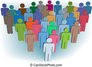 gruppe, folk, symbol, farver, selskab, eller, befolkning