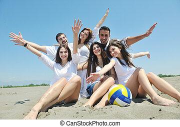 gruppe, folk, unge, hav morskab, strand, glade