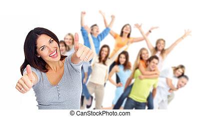 gruppe, glade, portrait., unge mennesker