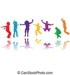 gruppe, hånd, silhuetter, springe, stram, børn