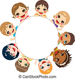 gruppe, multi-ethnic, børn