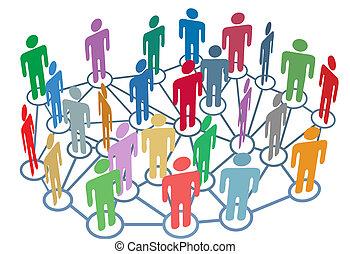 gruppe, netværk, folk, medier, sociale, mange, samtalen