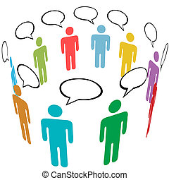 gruppe, netværk, folk, medier, symbol, farver, sociale, samtalen