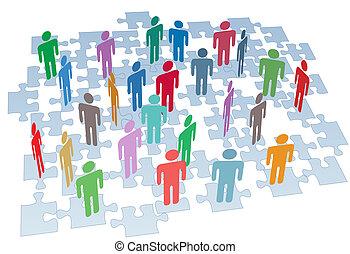gruppe, netværk, gåde stykke, sammenhænge, menneskelige ressourcer