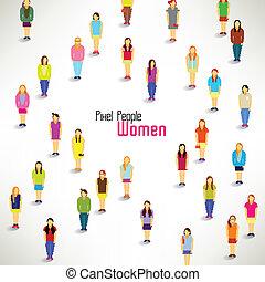 gruppe, samles, store, vektor, konstruktion, kvinder