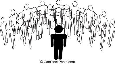 gruppe, stænder, folk, taler, forside, leder