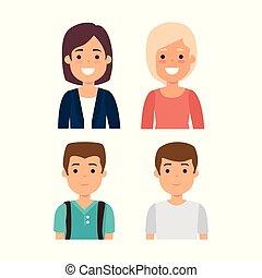 gruppe, unge mennesker