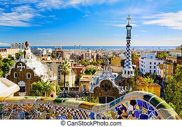 guell, barcelona, park, spanien