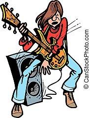 guitarist, unge, gyngen