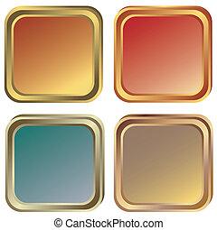 guld, bronce, (vector), rammer, sæt, sølv