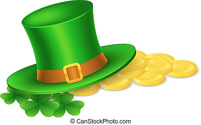 guld, hat, blade, mønter, illustration, st., shamrock, patricks, vektor, leprechaun, banner, dag, glade