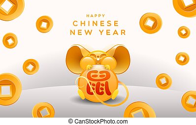 guld, kinesisk, card, arven, år, 2020, nye, rotte