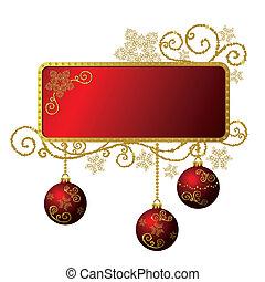 guld, og, ramme, isoleret, jul, rød