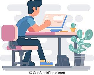 guy, computer, arbejder