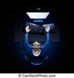 guy, computer, spille