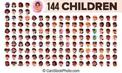 guy., sæt, folk, arab., mandlig, female., asiat, børn, ethnic., vector., multinationale, lejlighed, illustration, portrait., bruger, barn, multi, europæisk, zeseed, pige, afrikansk, avatar, icon., racial., emotions.