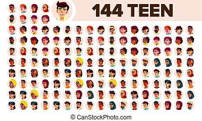 guy., sæt, folk, mandlig, female., asiat, ethnic., adolescent, vector., multinationale, lejlighed, illustration, portrait., bruger, arab., multi, europæisk, zeseed, pige, afrikansk, avatar, icon., racial., emotions.