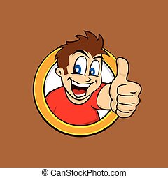 guy, tommelfingre oppe, cartoon