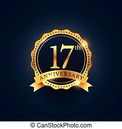 gylden, 17, farve, årsdag, etikette, emblem, fest