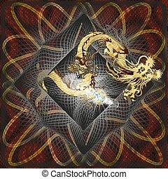 gylden, b, struktureret, kinesisk drage