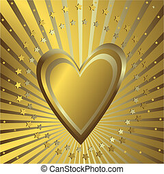gylden baggrund, hjerte