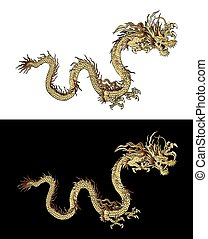 gylden drage, kinesisk, horisontalt