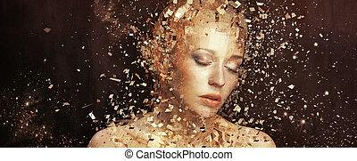 gylden, elementer, kunst, splintering, fotografi, kvinde, tusindvis
