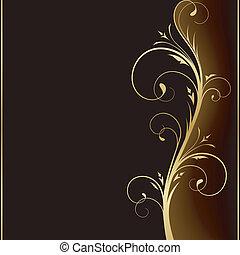 gylden, elementer, mørke, herskabelig, konstruktion, baggrund, blomstrede