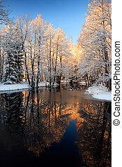 gylden, flod, solnedgang, vinter