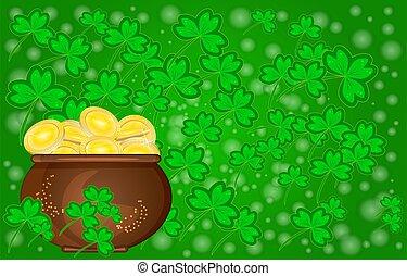 gylden, fulde, grønne, baggrund., helgen, shamrock, dag, card, patricks, mønter, pot