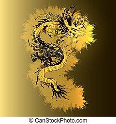 gylden, guld, kinesisk drage, baggrund, lysende