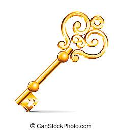gylden, hvid, vektor, isoleret, nøgle
