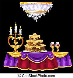 gylden, illustration., baggrund., vinhøst, festlige, isoleret, glas, candlestick., dinere, vektor, sort, vin, interior, tabel, herskabelig, kage, rum