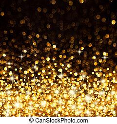 gylden, jul, baggrund, lys