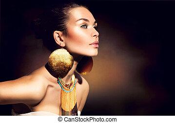 gylden, kvinde, makeup, jewels., mode, portrait., trendy