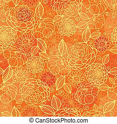 gylden, mønster, seamless, tekstur, orange baggrund, blomstrede