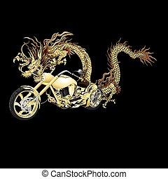 gylden, motorbike, kinesisk drage, sort baggrund