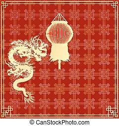 gylden, rød baggrund, kinesisk drage