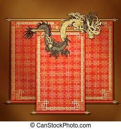 gylden, rød, scroll, kinesisk drage