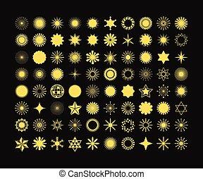 gylden, sæt, elementer, komplet, iconerne, symboler, konstruktion, baggrund, tegn, sort, 80