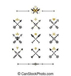 gylden, sæt, iconerne, stamme, moderne, pile, hånd, kryds, retro, baggrund, stram, sort, hvid