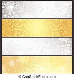 gylden, sæt, vinter, hældning, sølvlignende, bannere