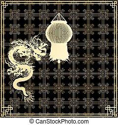 gylden, sort baggrund, kinesisk drage